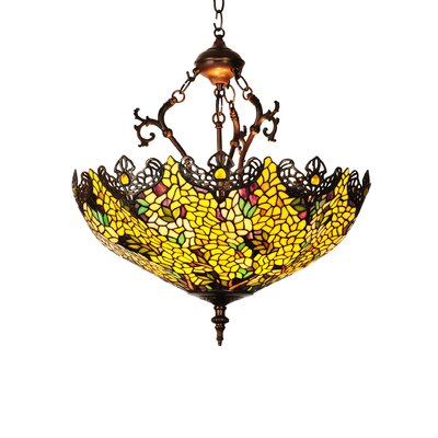 Victorian Tiffany Laburnum 3-Light Inverted Pendant
