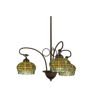 Victorian Jeweled Basket 3-Light Shaded Chandelier