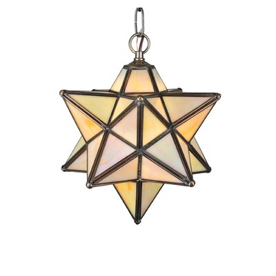 Lodge Arts and Crafts 1-Light Pendant Shade Color: Beige