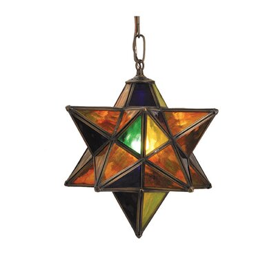 Lodge Arts and Crafts 1-Light Pendant Shade Color: Multi Stone