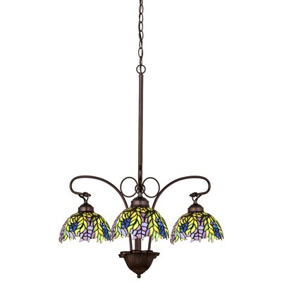 Tiffany Honey Locust 3-Light Shaded Chandelier