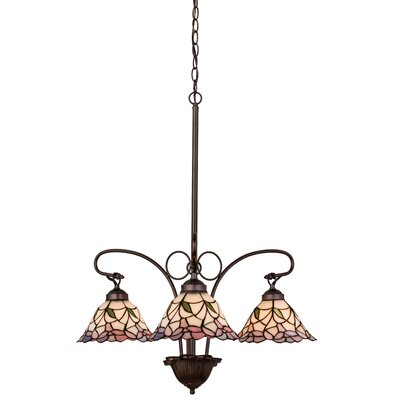 Victorian Daffodil Bell 3-Light Shaded Chandelier