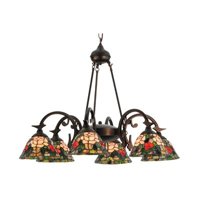 Tiffany Rosebush 6-Light Shaded Chandelier