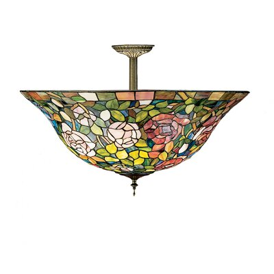 3-Light Tiffany Rosebush Semi Flush Mount