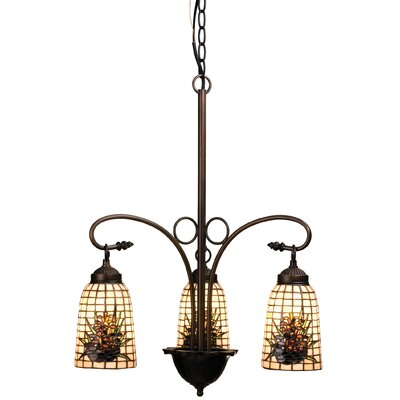 Victorian Lodge Tiffany Pine Barons 3-Light Shaded Chandelier