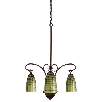 Victorian Tiffany Terra Verde 3-Light Shaded Chandelier