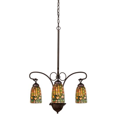 Victorian Lodge Tiffany Acorn 3-Light Shaded Chandelier