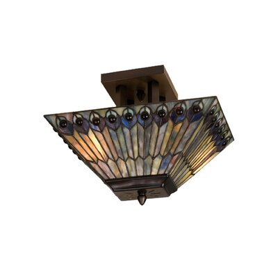 2-Light Peacock Oblong Semi Flush Mount