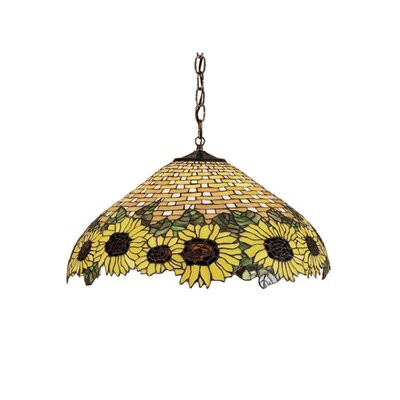 Wicker 3-Light Sunflower Pendant