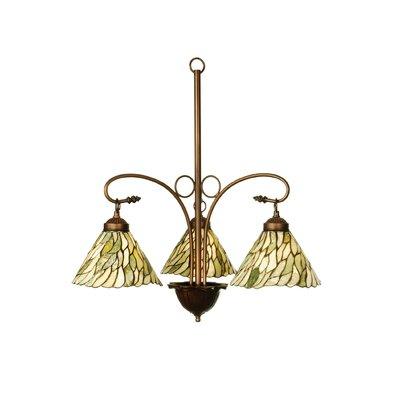 Victorian Jadestone Willow 3-Light Shaded Chandelier