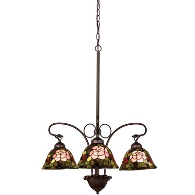 Tiffany Rosebush 3-Light Shaded Chandelier