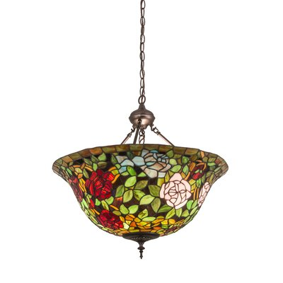 Victorian Tiffany Rosebush 3-Light Inverted Pendant