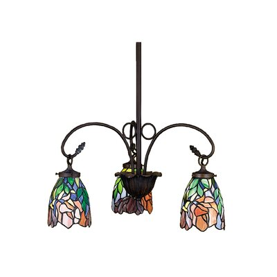 Art Glass Iris 3-Light Shaded Chandelier