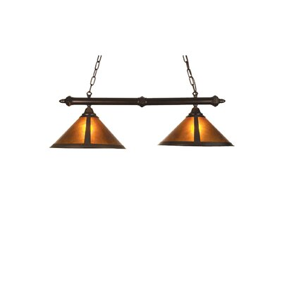 Rustic Van Erp Amber Mica 2-Light Pool Table Light