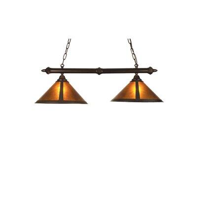 Rustic Van Erp Amber Mica 2-Light Pool Table Light