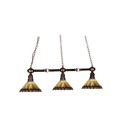 Tiffany Jeweled Peacock 3-Light Pool Table Light