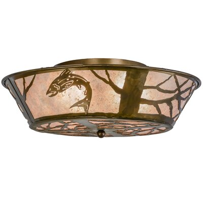 Northwoods Leaping Trout 4-Light Flush Mount