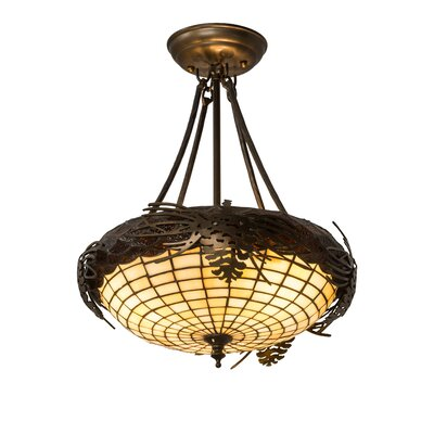 Greenbriar Oak Acorn 3-Light Semi Flush Mount