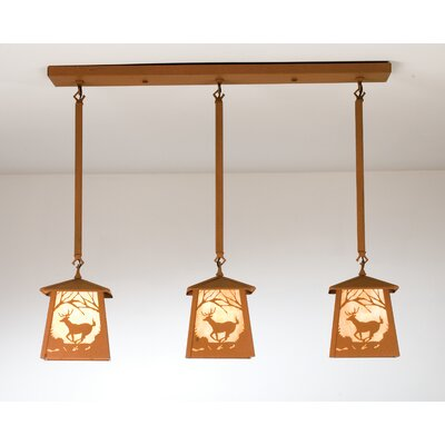 Deer at Dawn 3-Light Kitchen Island Pendant