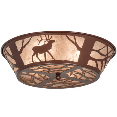 Elk on the Loose 4-Light Flush Mount