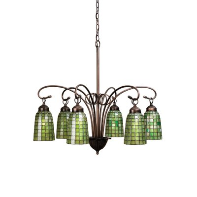 Victorian Tiffany Terra Verde 6-Light Shaded Chandelier