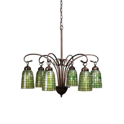 Victorian Tiffany Terra Verde 6-Light Shaded Chandelier