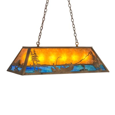 Trout and Fisherman 9-Light Pendant