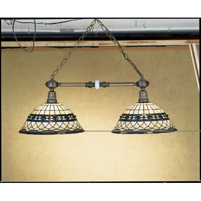 Victorian Tiffany Roman 2-Light Pool Table Light