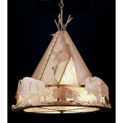 Teepee with Buffalo 4-Light Geometric Pendant Size: 38 - 67 H x 24 W x 24 D