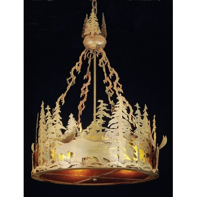 Moose at Dusk 4-Light Inverted Pendant Shade Color: Amber