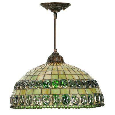 Turtleback Double Belted 1-Light Bowl Pendant
