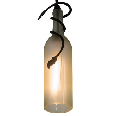 Tuscan Vineyard Frosted Wine Bottle 1-Light Mini Pendant Shade Color: Frosted White, Size: 16 - 84 H x 4 W x 4 D
