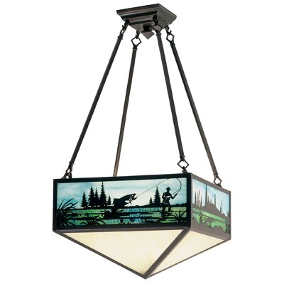 Fly Fishing Creek 3-Light Semi Flush Mount