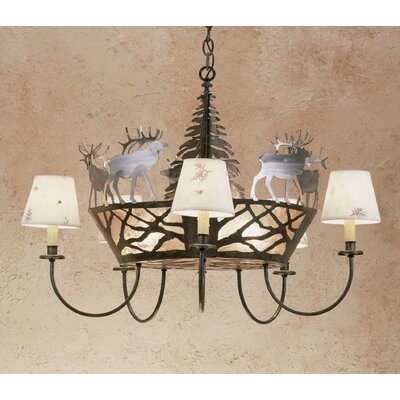 Elk on the Loose 5-Light Candle-Style Chandelier Size: 59 H x 34 W x 34 D