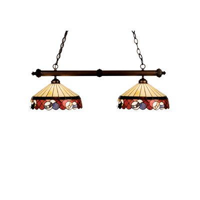 Tiffany Burgundy Billiard 2-Light Pool Table Light