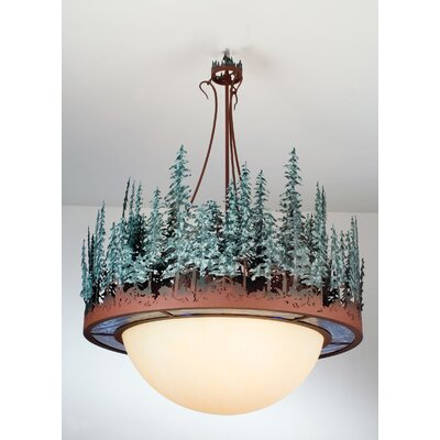 Pine Lake 4-Light Inverted Pendant Shade Color: Rust/Green