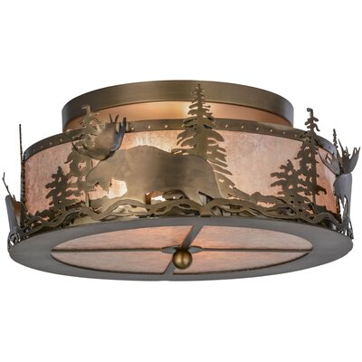 Moose at Dusk 2-Light Semi Flush Mount
