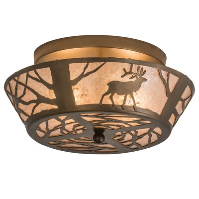 Elk on the Loose 2-Light Flush Mount