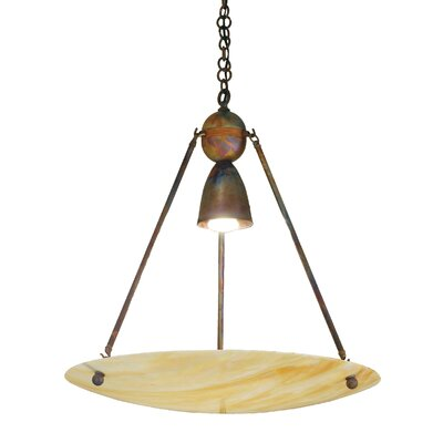 Revival Iridescent Deco Ball 1-Light Inverted Pendant Finish: Antique Copper