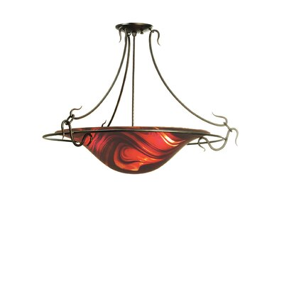 Cabernet Swirl Fused Glass 3-Light Semi-Flush Mount