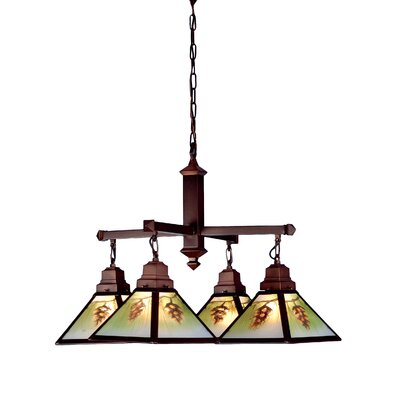 Rustic Northwoods Pinecone 4-Light Shaded Chandelier