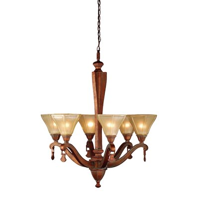 Rustic Oakland 6-Light Shaded Chandelier