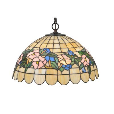 Tiffany Pansy 3-Light Bowl Pendant Size: 47 H x 16 W x 16 D
