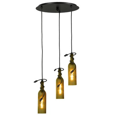 Tuscan Vineyard Etched Grapes Wine Bottle 3-Light Cascade Pendant Shade Color: Frosted Green