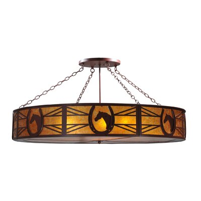 Greenbriar Oak Horseshoe 8-Light Semi-Flush Mount
