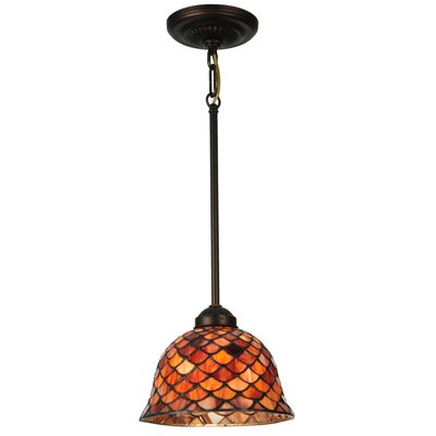 Greenbriar Oak Tiffany Fishscale 1-Light Mini Pendant