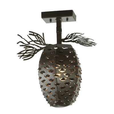 Stoneycreek Pinecone 1-Light Semi Flushmount Finish: Timeless Bronze