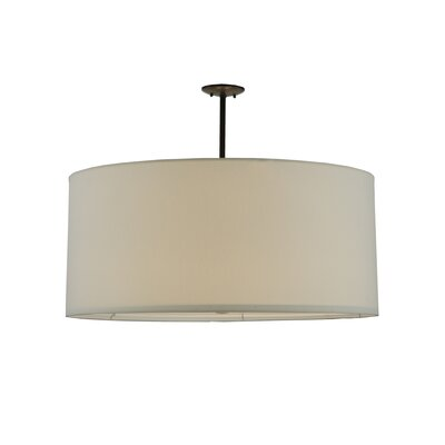 Greenbriar Oak Cilindro White Textrene 6-Light Drum Pendant