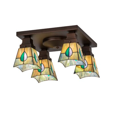 Greenbriar Oak Alcove 4-Light Flush Mount