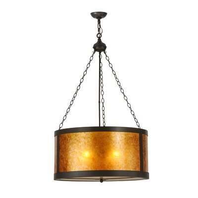 Greenbriar Oak 4-Light Drum Pendant Size: 98 H x 28 W x 28 D